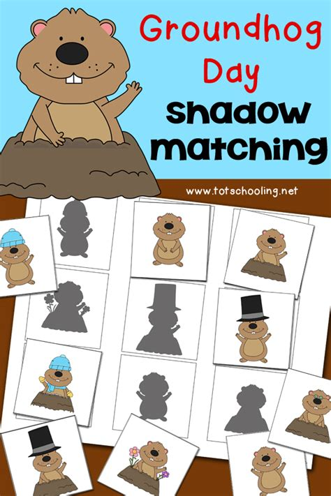 groundhog day shadow matching activity totschooling