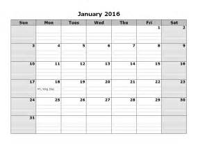 2016 Printable Monthly Calendar Template