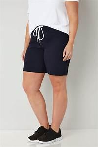 Dunkelblaue Jersey Kurze Hose mit Elastischen Taillenband ...