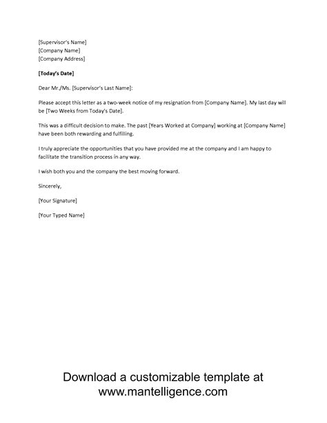 written two weeks notice 3 highly professional two weeks notice letter templates