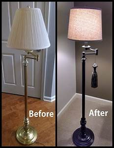 Painted brass floor lamp upcycled google search items for Metal floor lamp makeover
