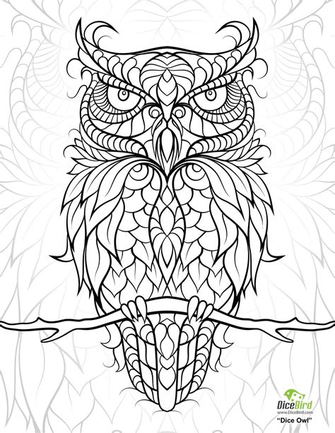 diceowl  printable adult coloring pages adult