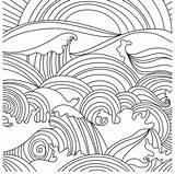 Coloring Sunset Ocean Waves Printable Sheets Abstract Adult sketch template