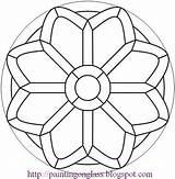 Patterns Glass Mosaic Stained Painting Rose Mandalas Pattern Church Mandala Geometric Coloring Printable Para Circular Simple Windows Faciles Colorear Paintingonglass sketch template
