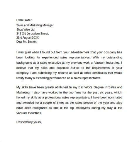 Sales Representative Resume Cover Letter by Resume Cover Letter 13 Sles Exles Formats