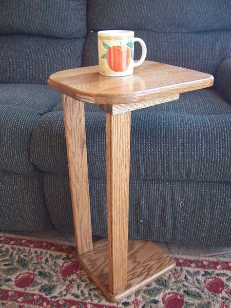 solid oak wood snack sofa accent table  woodupnorth  etsy