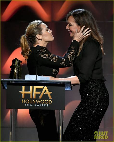 allison janney now kate winslet allison janney kiss onstage at hollywood