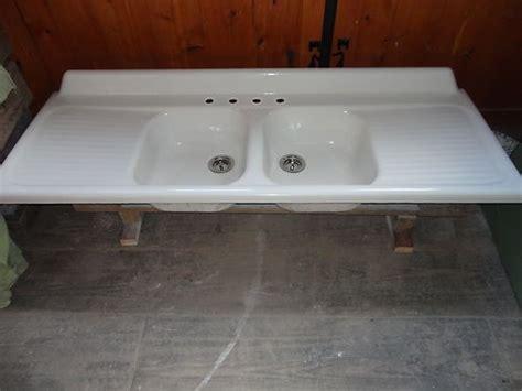 vintage double basin drainboard cast iron farm farmhouse