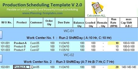 excel production schedule templat