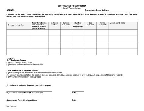 certificate of disposal template 7 best images of certificate of disposal form certificate of records forms