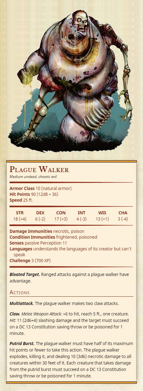 "Injury and the risk of death are constant companions of those who explore fantasy gaming worlds. thirdtofifth: ""Plague Walker Medium undead, chaotic evil ..."