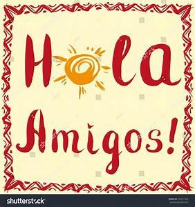 Hola Amigos Card Calligraphy Sun Hand Stock Vector ...
