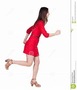 Back View Of Running Woman In Dress. Stock Image - Image ...