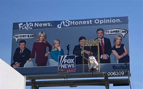 fox news billboard vandalized  los angeles fake news