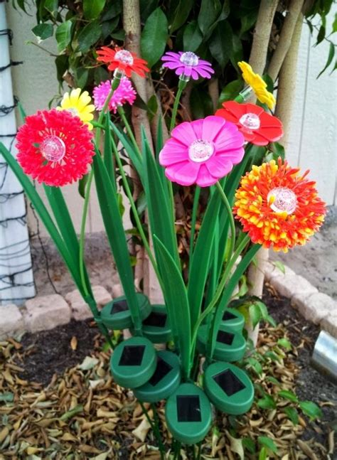 solar flower garden lights artificial flowers with solar powered lights for gardens