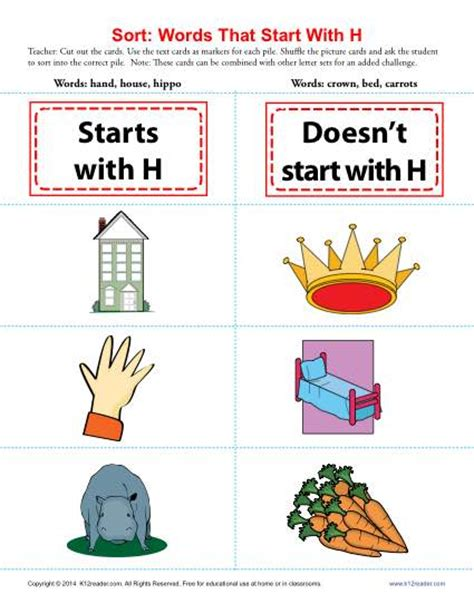 words that begin with the letter h words starting with h beginning consonant worksheets 26498