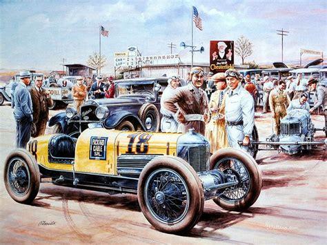 Vintage Cars Painting, Vintage Car Racing Scene 5