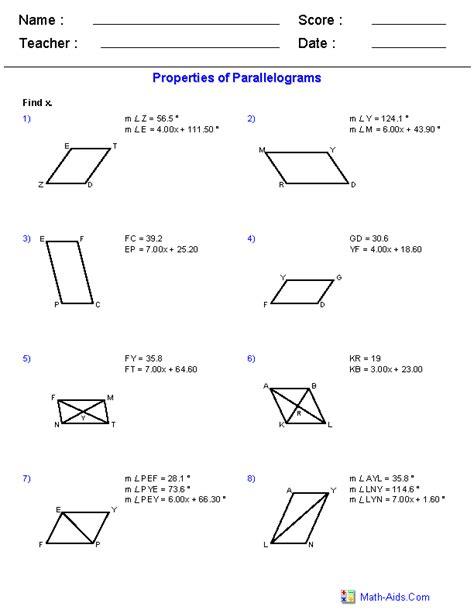 properties  parallelograms worksheets   shool
