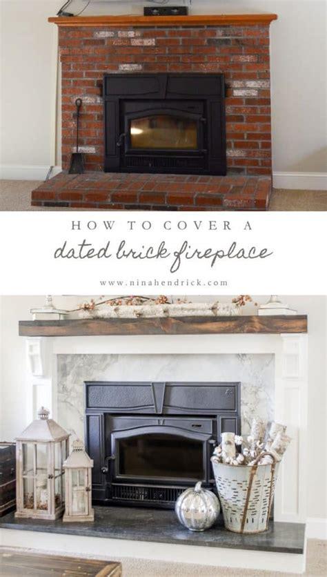 cover  brick fireplace modern farmhouse style