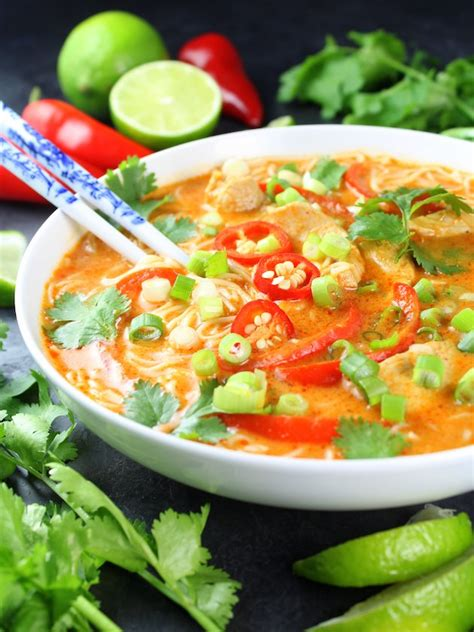 Thai red curry soup with chicken and vegetables bon appétit, september 1997. Thai Red Curry Chicken Soup   Taste And See
