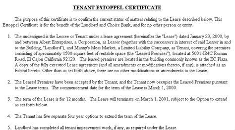 Estoppel Certificate Template Costumepartyrun