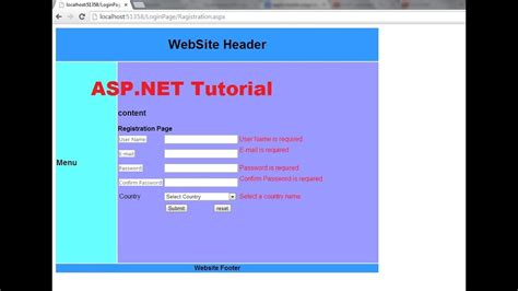 aspx login page template asp net tutorial 8 create a login website creating master page and apply it to existing aspx