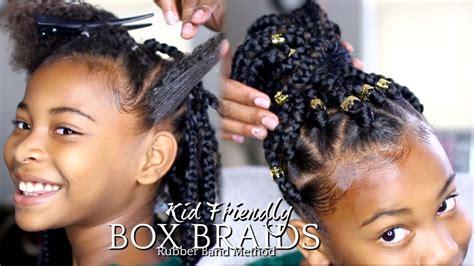 natural hair   box braids rubber band method