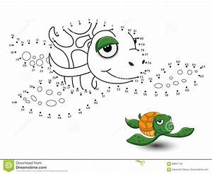 Turtle Cartoon Connect The Dots And Color Stock Vector