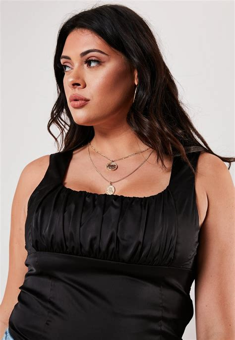 Plus Size Black Satin Ruched Corset Top Missguided