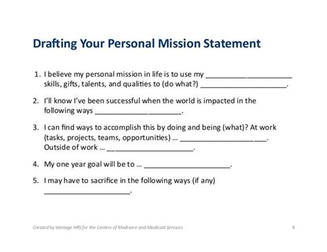 personal mission statement for a resume career statement and personal mission exles