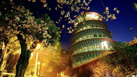 anime china tema game full hd wallpaper asian architecture style night