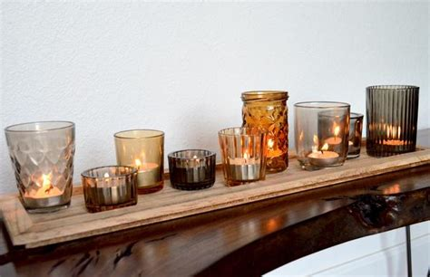 glass tealight candle holders  wood tray woodwaves