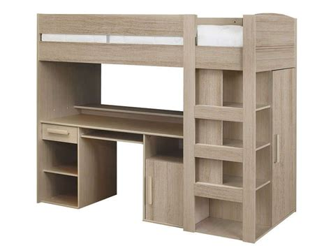 acheter un bureau lit mezzanine 90x200 cm montana chêne gris conforama