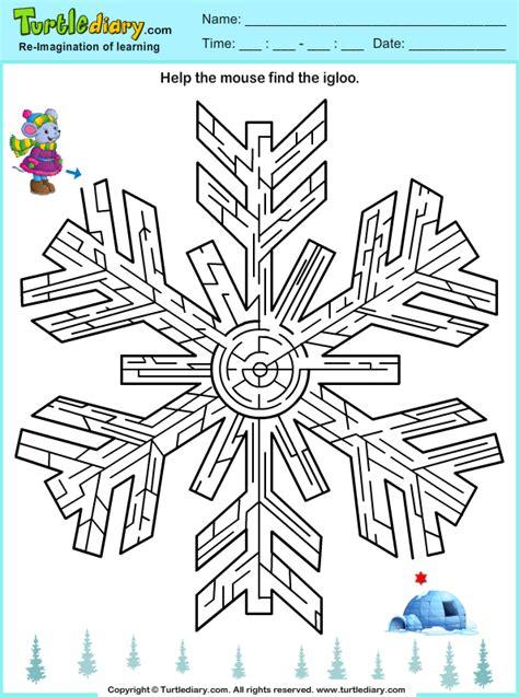 snowflake maze worksheet turtle diary