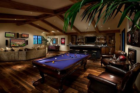 Game room bar ideas family room mediterranean with pool