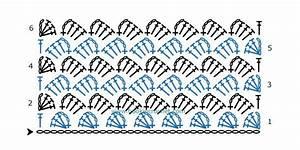 Slanted Shell Stitch Crochet Chart Pattern Created Using