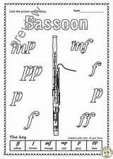 Bassoon Coloring Instruments sketch template