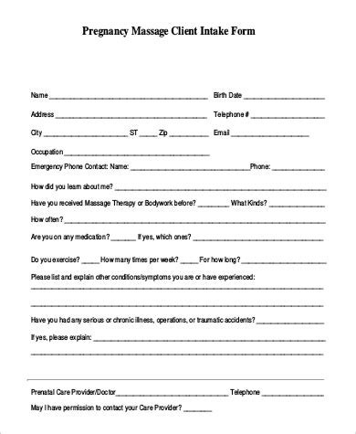 sample massage intake form  examples  word