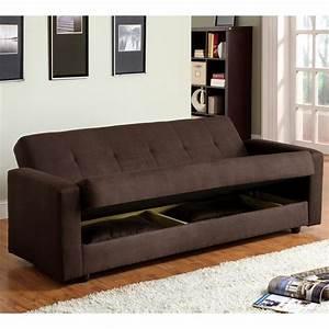 Furniture of america cozy microfiber sleeper sofa bed with for Microfiber sofa bed with storage