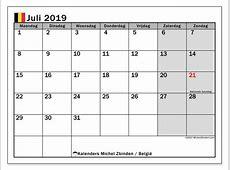 Kalender juli 2019, België Michel Zbinden nl