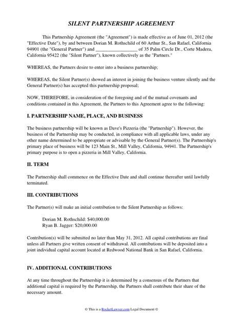 Silent Partnership Agreement | General Partnership