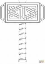 Thor Hammer Coloring Mjolnir Thors Printable Template Templates Cartoon Mythology Sketch Mjölnir Norse sketch template