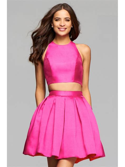 Short Pink Satin Two Pieces Jewel Homecoming Cocktail Prom