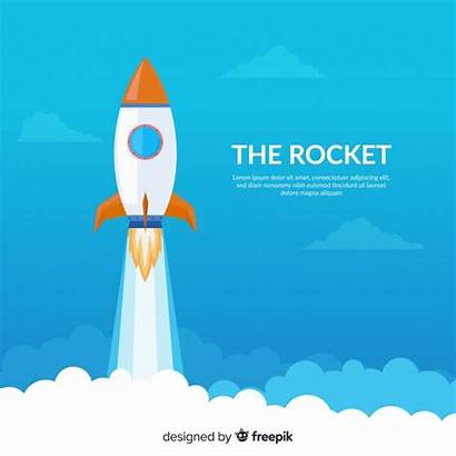 Rocket Launch Flat Vector Composition Freepik 3d