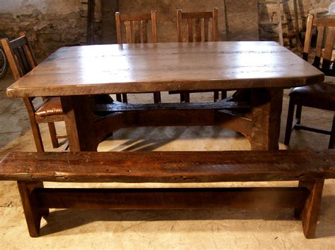 timberframe thick plank farm table  antique barnwood