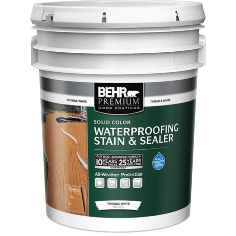 behr premium  gal white base solid color waterproofing