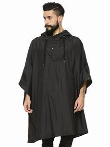 Buy KOOVS Rain Poncho For Men - Men's Black Hoodies Online ...