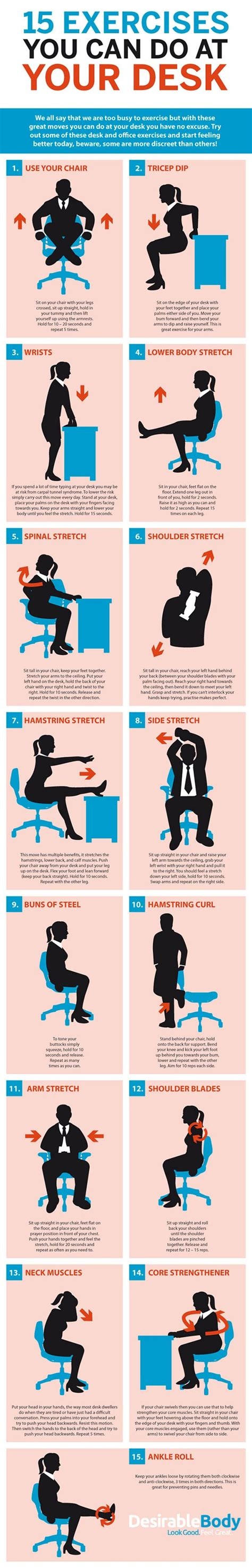 exercises to do at your desk with pictures 15 exercises you can do at your desk