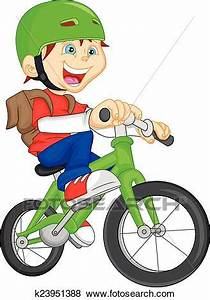 Clip Art of cute boy riding bicycle k23951388 - Search ...