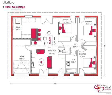 plan maison plein pied 4 chambres plan maison 90m2 plain pied 11 mod le de construction